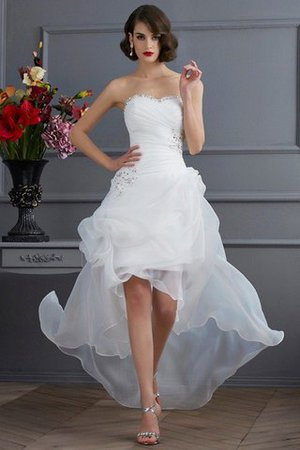 Brautkleider Vorn Kurz Hinten Lang | Vorn Kurz Hinten Lang Prinzessin Organza A Linie Armelloses