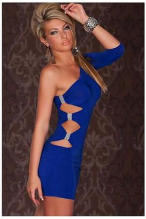 Blau Elegant Stil Mini Sexy Elasthan Party Kleid Eine Schulter Mantel Club Kleider Mekleid De