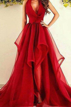 f69edf216914cd A Linie Ärmelloses V-Ausschnitt Prinzessin Abendkleid aus Organza