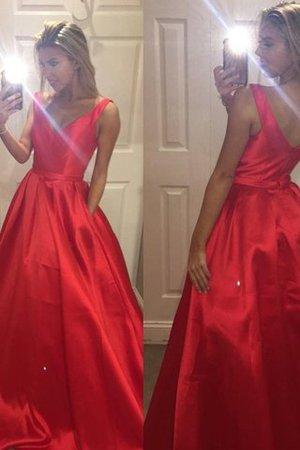 1e72e7874a481e Satin Prinzessin V-Ausschnitt A-Line Abendkleid mit Sweep Zug