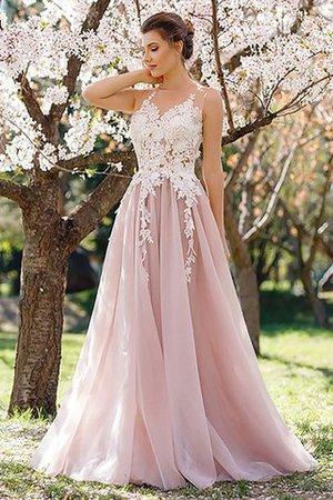 d40be7923e313 Ärmelloses A Linie Normale Taille Prinzessin Abendkleid mit Juwel Ausschnitt