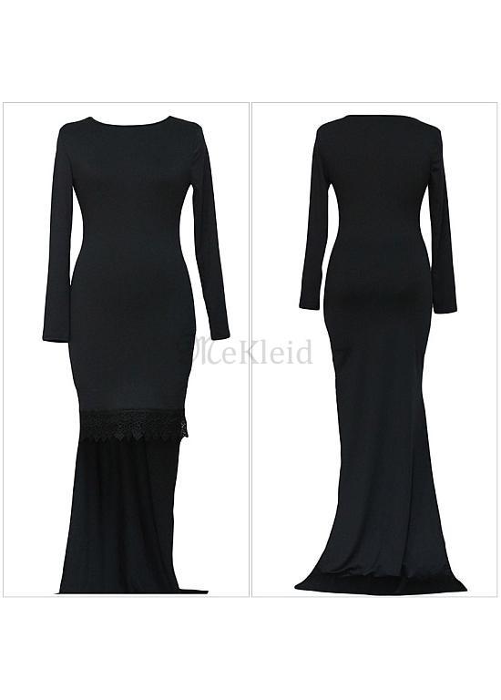 Abendkleid schwarz lang mit armel